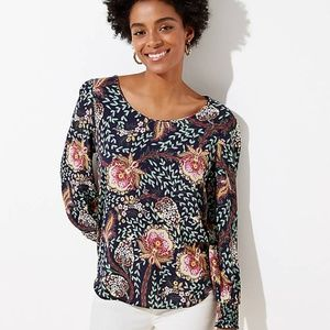 NWT LOFT Women's Floral Smocked Cuff Blouse